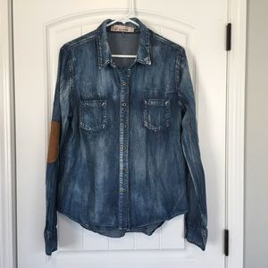 Women's Denim Button Down Collared Top Large